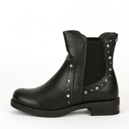 Biker boots με τρουκς - ΜΑΥΡΟ DQH0021