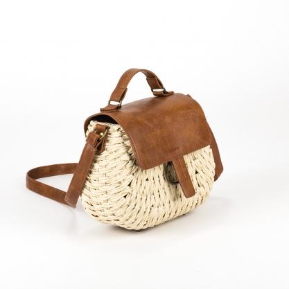 Ψάθινη τσάντα με καπάκι - ΚΑΜΕΛ XY-28
