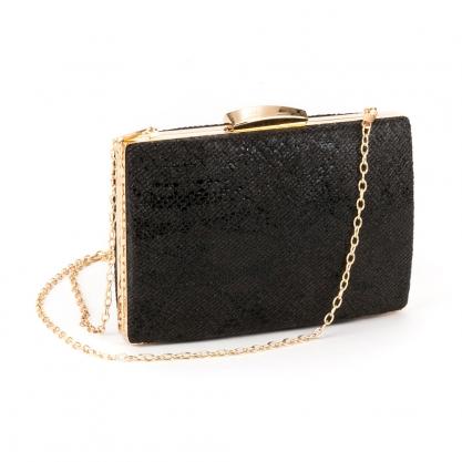 Μαύρο clutch bag με ανάγλυφο σχέδιο - ΜΑΥΡΟ 10035