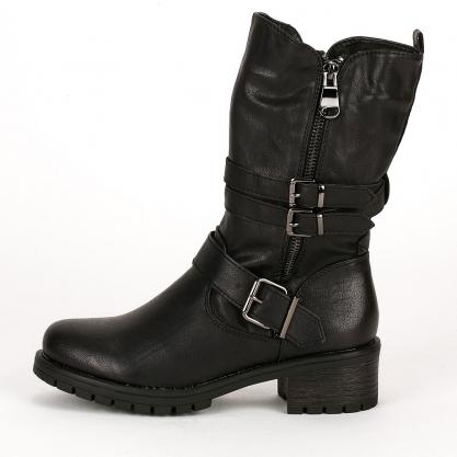 Biker boots με αγκράφες - ΜΑΥΡΟ 993