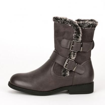Biker boots με γούνα - ΓΚΡΙ DS00063