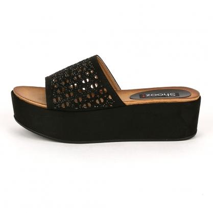 43926f85e9 ShoesMegaStores Flatform παντόφλες με στρας - ΜΑΥΡΟ 17028-3