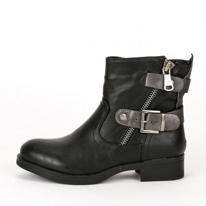 Biker boots με διπλό ζωνάκι - ΜΑΥΡΟ DLMY0009