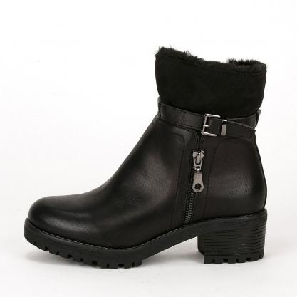 Biker boots με γούνα - ΜΑΥΡΟ 9350