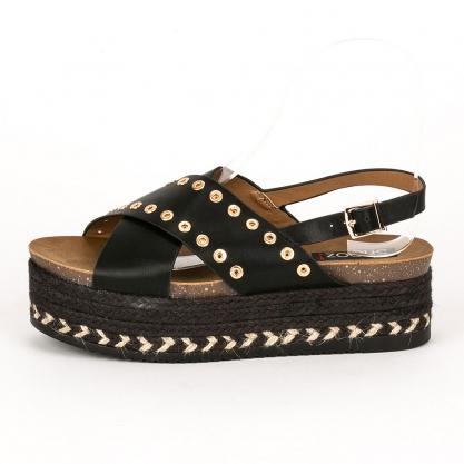1f4fc3bb88 ShoesMegaStores Slingback flatforms με χρυσά τρουκς - ΜΑΥΡΟ 6167-43