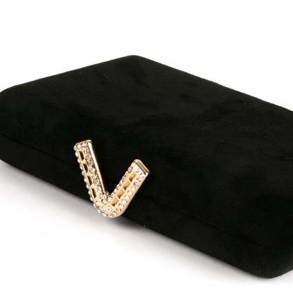 Suede clutch με χρυσό κούμπωμα - ΜΑΥΡΟ 10169