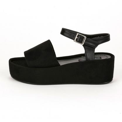 10b6c1994e ShoesMegaStores Suede flatform πέδιλα - ΜΑΥΡΟ BL8261A
