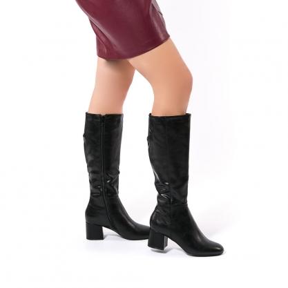 Μαύρες μπότες με τετράγωνο τακούνι - ΜΑΥΡΟ 4902