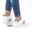 Λευκά δίσολα sneakers με snakeskin