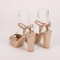 Μπρονζέ ψηλοτάκουνα πέδιλα με χοντρό τακούνι