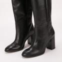 Μαύρες δερμάτινες μπότες Paola Ferri