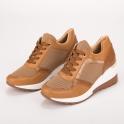 Κάμελ sneakers πλατφόρμα με συνδυασμό υλικών