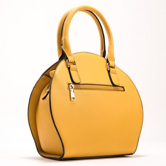 Στρογγυλή τσάντα με μεταλλικά στοιχεία
