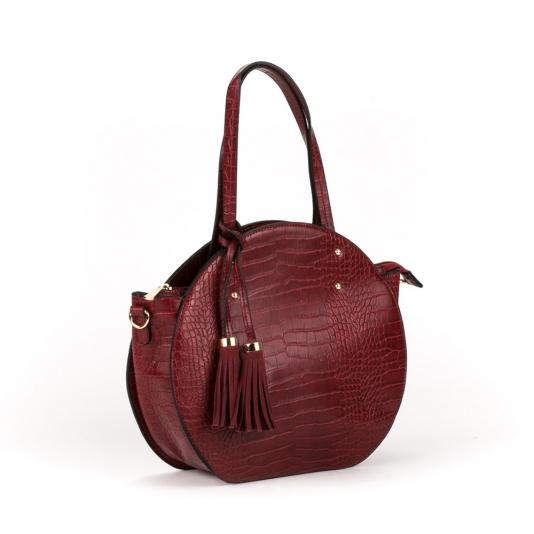 Τσάντα croco με διακοσμητική φουντίτσα