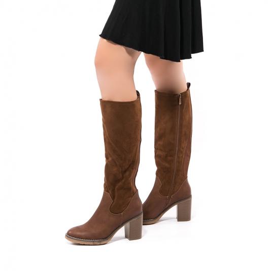 Μπότες με συνδυασμό υλικών και λάστιχο