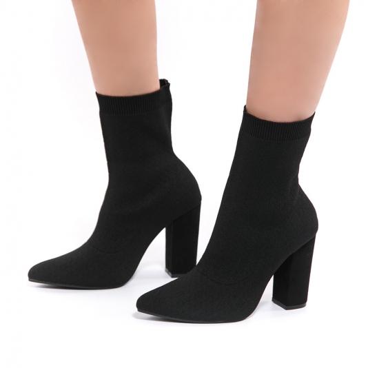 Μποτάκι κάλτσα με χοντρό τακούνι