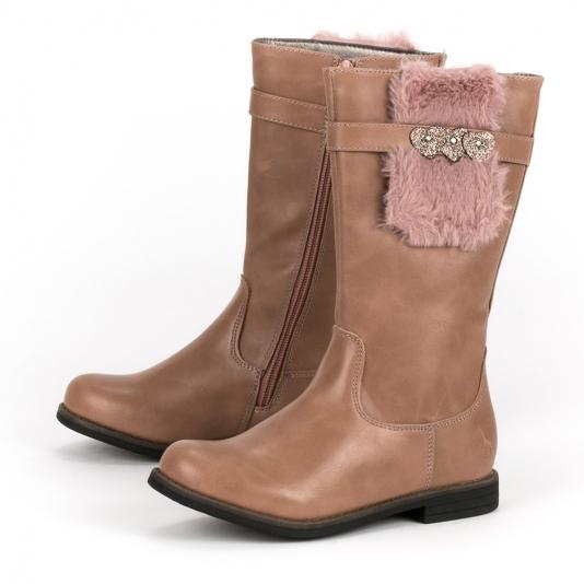 Ροζ μπότες με γουνάκι και γκλίτερ