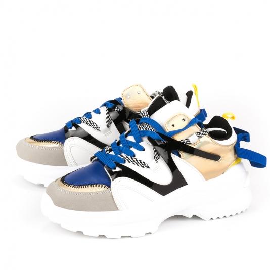 Δίσολα Sneakers με συνδυασμό υλικών και χρωμάτων