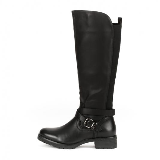 Μαύρες μπότες με λάστιχο και τρακτερωτή σόλα
