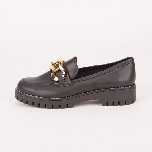 Μαύρα Loafers με αλυσίδα