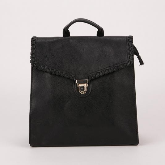 Τσάντα πλάτης με πλεκτή λεπτομέρεια