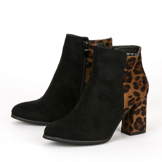 Suede μποτάκια με leopard λεπτομέρεια