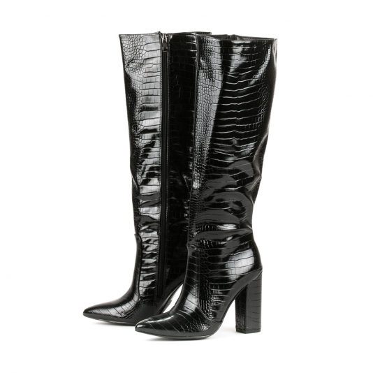 Μαύρες μπότες croco