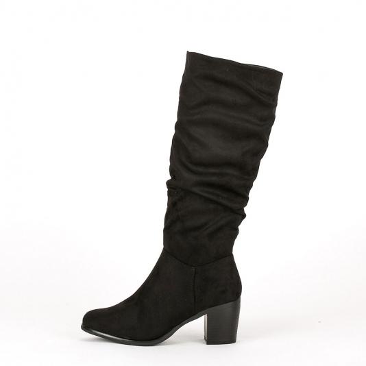 Suede μπότες με τετράγωνο τακούνι