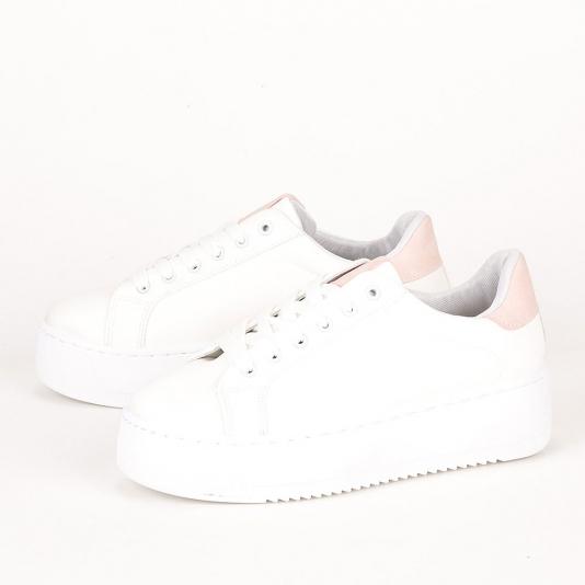 Λευκά sneakers με ροζ λεπτομέρειες