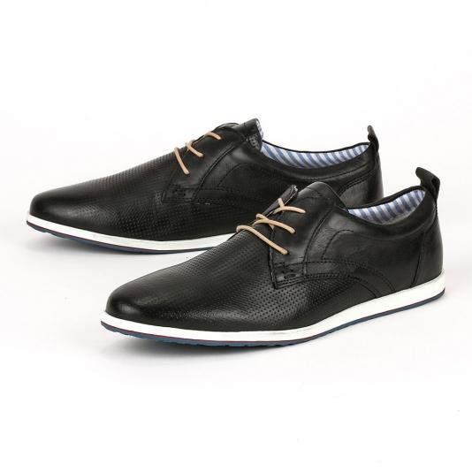Μαύρα δερμάτινα casual παπούτσια