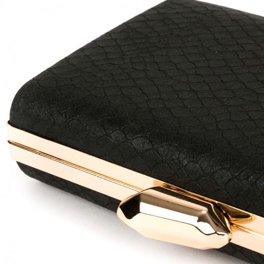 Μαύρο croco clutch