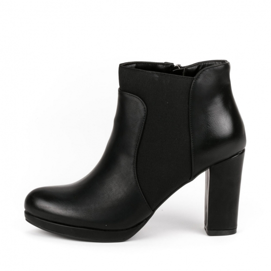 Ankle boots με χοντρό τακούνι και λάστιχο