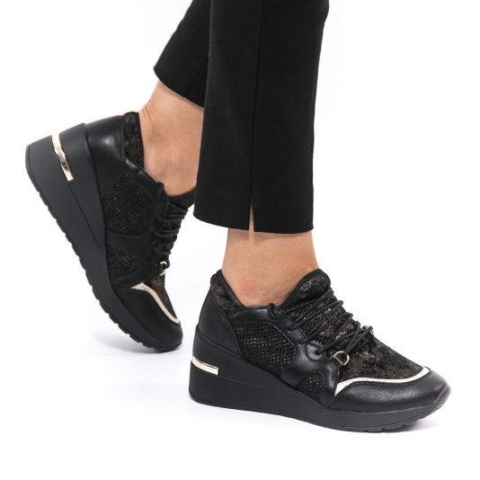 Μαύρα sneakers με πλατφόρμα και χρυσό glitter