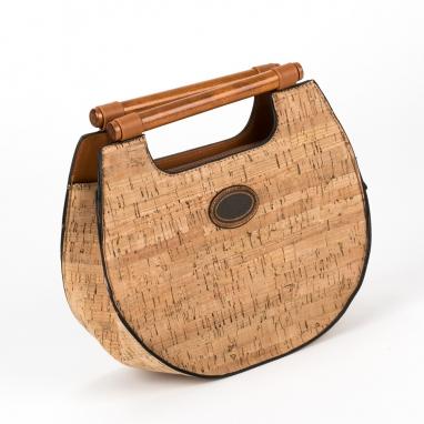 Τσάντα χειρός με ξύλινα χερούλια