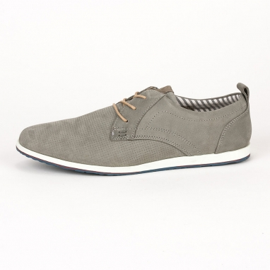 Γκρι δερμάτινα casual παπούτσια