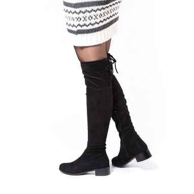 Μπότες over the knee με κορδόνι
