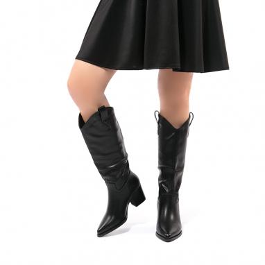 Μαύρες  Cowboy μπότες με χοντρό τακούνι