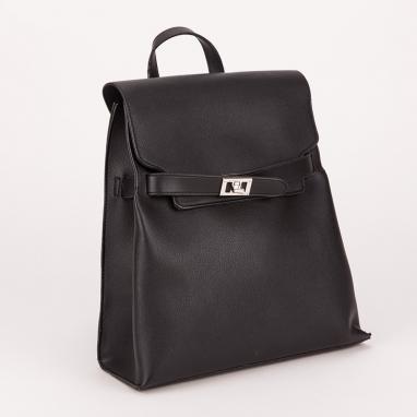 Τσάντα πλάτης μονόχρωμη με καπάκι