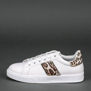 Λευκά sneakers με animal print