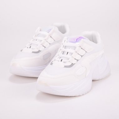 Chunky sneakers με συνδυασμό υλικών
