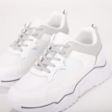 Chunky sneakers με χρωματιστές και μεταλλιζέ λεπτομέρειες