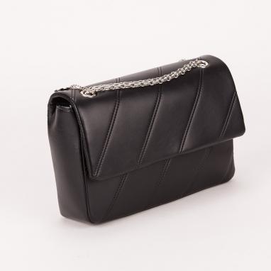 Τσάντα φάκελος μαύρη με διαγώνιες ρίγες