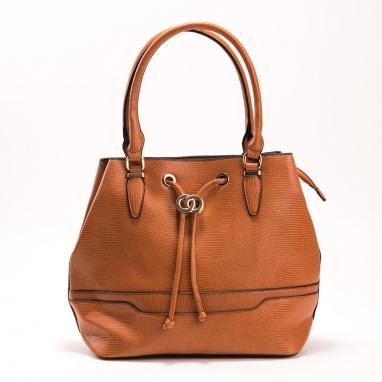 Τσάντα πουγκί με υφή κροκό