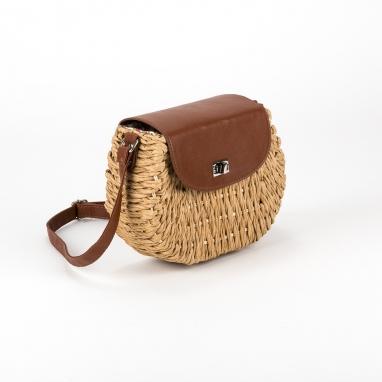 Ψάθινη τσάντα ώμου με καπάκι